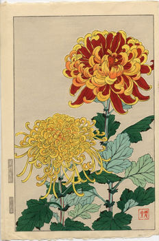 Original engraving by Kawarazaki Shodo (1889-1973) – 'Chrysanthemum' – Japan – ca. 1955