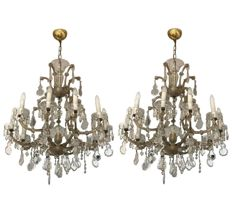 Outstanding and rare pair of ten light chandeliers, with six and two arms - rich in crystal drops and glass flowers - Italy, 1920s