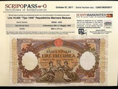 Italy - 10,000 lire queens of the sea, 1948 type, Maritime Republics Medusa 02/11/1961 - with certificate - Gigante BI 73S