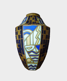 "Maurice Delvaux for Charles Catteau - ""One-of-a-kind masterpiece"" - Polychrome earthenware vase"