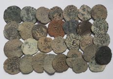 Spain - Catholic Kings (1474-1504) lot of 30 coins, copper blancas.