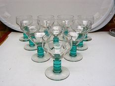 Ten Art Deco wine glasses