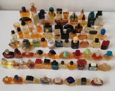Lot of 80 miniature perfumes - women's and men's perfumes, eau de toilette, 4 ml to 13 ml (some are partly evaporated), no boxes