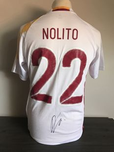 Diego Nolito signed Spain away shirt 16/17 with photos of the autograph moment and COA