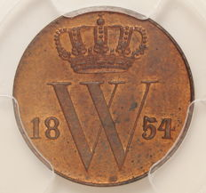 The Netherlands -  ½ cent 1854, Willem III - copper
