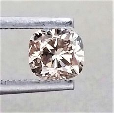 0.80 ct - Cushion Cut  - Natural  Fancy Champagne  - VVS2 clarity  - Comes With AIG Certificate + Laser Inscription On Girdle -2 x EX