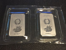 Cook Islands - 75 Cents 2017 'Bounty Coin Bar' (2 pieces) with certificate - 2 x 20 g silver