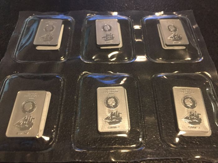 Cook Islands - 50 cents 2017 'Bounty coin bars' - 6 x 10 g of 999 silver