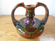 Plateelbakkery De Distel Amsterdam - Art Nouveau ceramics decorative vase with floral decor