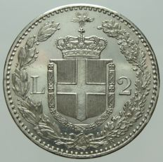 Kingdom of Italy, 2 lire 1883, Umberto I, silver.