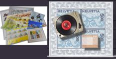 Switzerland - Embroidered textile, wood and record player stamps  and other blocks and sheetlets
