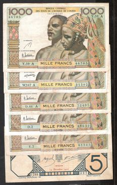 French Colonies - West African States/French West Africa - 5 x 1,000 Francs 1959-1961 and 1 x 5 Dakar 1922