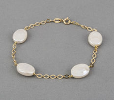 Yellow gold 18 kt/750 - Bracelet - Baroque pearls