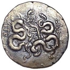 The Greek Antiquity - Mysia, Pergamon c. 166-167 BC - AR Cistophoric Tetradrachm (Silver, 25mm; 12,54g.) - Cista mystica / Two serpents - SNG France 1720