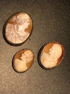 Collection of early massive vintage Cameo, shell brooches