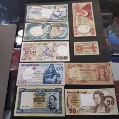 Portugal - Lot of 9 banknotes - From 10 centavos to 1,000 escudos