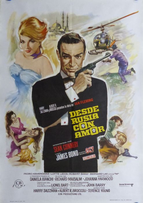 James Bond 007 - From Russia With Love - 100x70 cm. - Spanish Poster Re-Release 1974 - Sean Connery