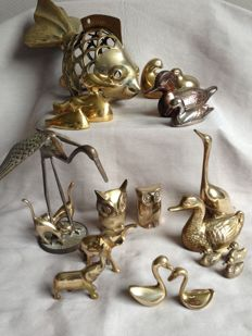 Collection of 20 beautiful copper/brass animals from the last century