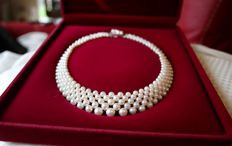 Five-row interlace quality genuine Japanese Akoya necklace with sea/salty pearls from 3.4 to 7.4 mm and a 14Kt. gold clasp **No Reserve**