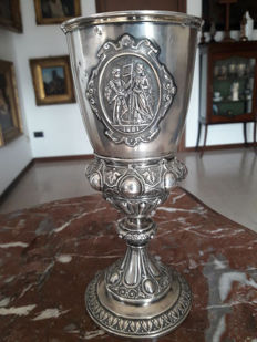 Antique 1881 commemorative cup of the 400th anniversary of the unification of the city of Fribourg (1481-1881)