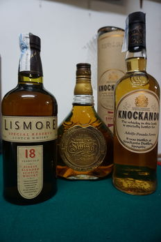 3 bottles - Knockando 1986 & Lismore 18 years old & Johnnie Walker Swing.