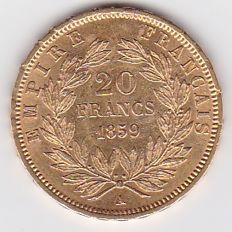 France - 20 francs 1859 A (Paris) - Napoleon III - Gold