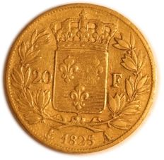 France - 20 francs 1825 A (Paris) - Charles X - gold