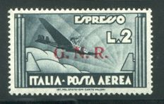 Italy, 1944 -- RSI, GNR type 2 -- Airmail, 2 lire, Express plane from Verona -- Sassone  no. 125