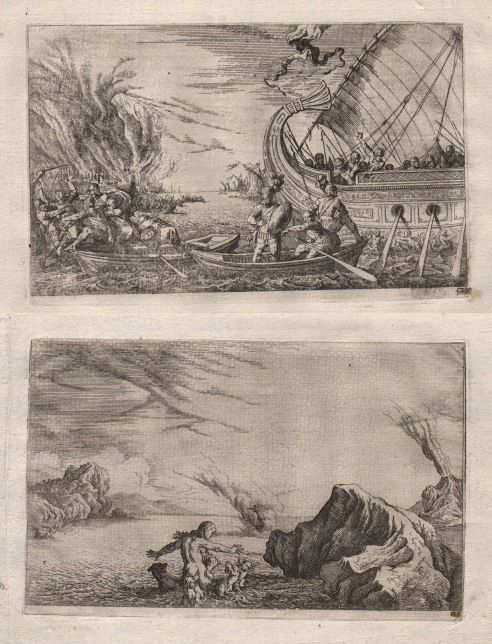 Johann Wilhelm Baur (1607-1640) - Abduction of Hecuba + Scylla's transformation