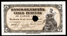 Spain - 2 x 5 pesetas July 1937 - Series A and C - Pick 106