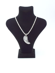 925 Italian sterling silver chain with  Feather  pendant   - 60  cm