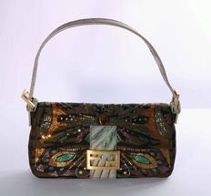 Fendi – Canvas baguette with rhinestone applications, with animalier fabric – Hemp interior