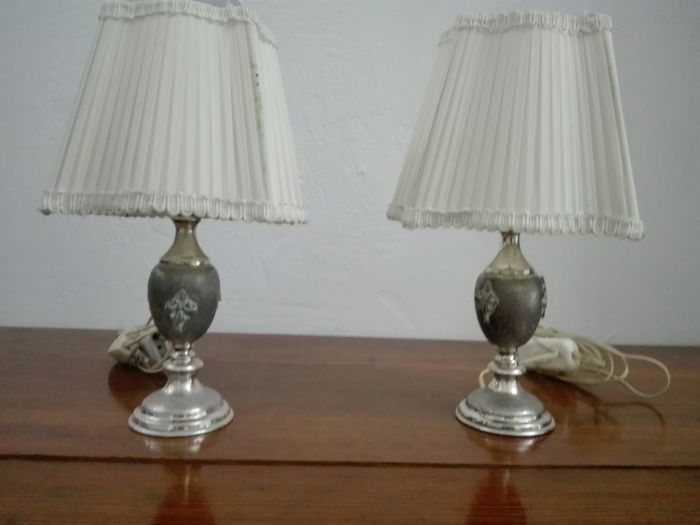 Pair of Table Lamps with Silver Base. Italy, 1960