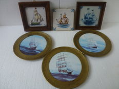 Three ceramic wall decorations with copper frame + three hand-painted tiles with ship images