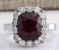 6.17 Carat Hessonite Garnet And Diamond Ring In 14K Solid White Gold Ring - Ring Size: 7 *** Free Shipping *** No Reserve *** Free Resizing ***