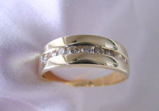 Brilliant diamond 0.40 ct hallmarked ring 585 gold without reserve price Size approx. 18.4