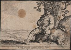Abraham Bloemaert (1564-1651) by his son Cornelis (1603-1692) : A resting pedlar - From the Leisure serie - Ca. 1625