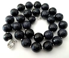 Necklace made of 14 mm Blue SUNSTONES - Natural shine - silver bead to separate the stones - 925 silver clasp