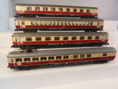 Fleischmann N - 8160/8162/8163/8169 - 4x TEE carriages of the  DB with rear lighting