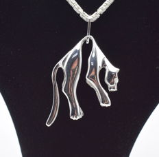 925 Italian sterling silver chain with  Panther pendant   - 60  cm