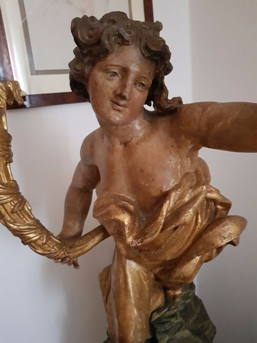 'L'Angelo delle Rocce' - polychrome gilt wood patrician angel - Italy - 18th century