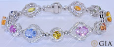 GIA 21.84 Ct colored Sapphires with Diamonds bracelet NO reserve price!