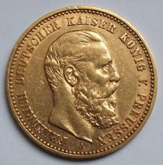 German Empire, Prussia – 10 mark 1888 A – gold