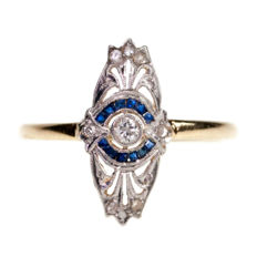 Gold Art Deco ring set with Diamonds and Sapphires, ca. 1915-1935