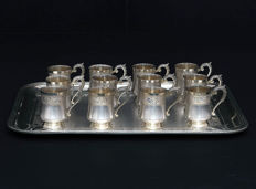 Set of 12 glasses on a solid silver tray, Paul Tonnelier 1882-1889, France