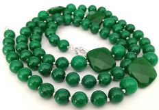 Jade Necklace 10 mm with 2 loops - tied with silk knot separated by silver beads