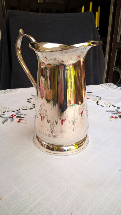 Silver plated water jug with ice cube bucket, mid 20th century, possibly French.