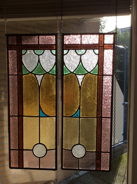 Pair of beautiful old Jugendstil stained glass windows (SunCatchers) with soft colours and mosaic - from approximately 1910