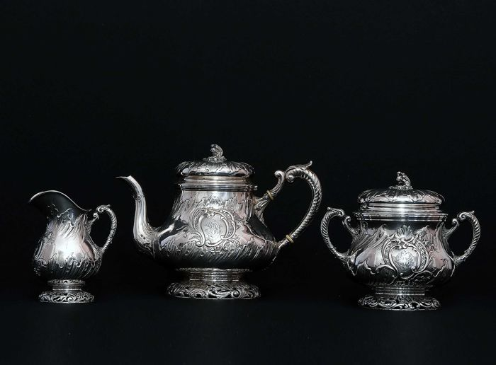 3 piece tea service made of sterling silver, France XIXth c.