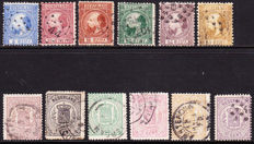 The Netherlands 1864/1867 - King Willem III and Coat of arms stamps - NVPH 7/12 + 13/18